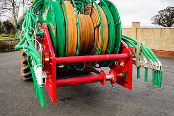 9 metre dribble bar folded on rear mounted reeler from SlurryKat Engineering Ltd