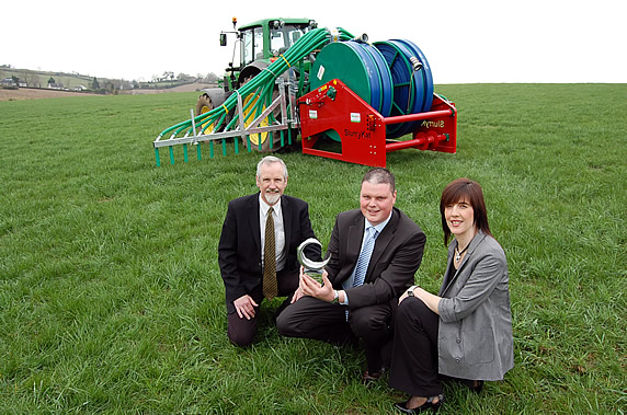 Garth Cairns (SlurryKat MD) with Paul Kavanagh (Craigavon Borough Council) and Caroline Thompson (Sponsor Northern Bank)