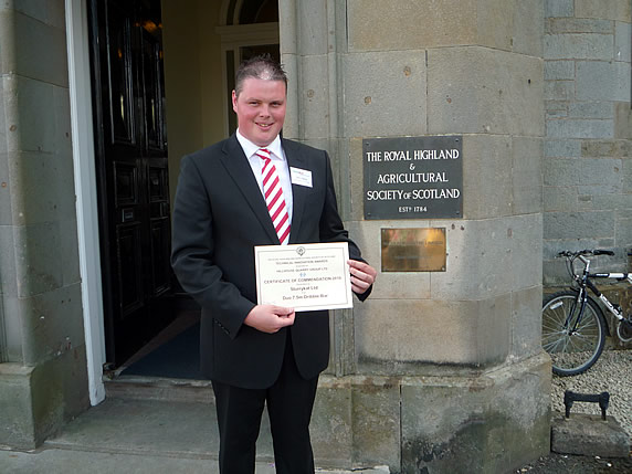 Garth Cairns Managing Director of SlurryKat at The Royal Highland Show with his award