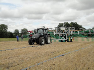 Slurry Dribble bar in action at the Field Demonstration, Driffield North Yorkshire